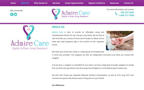 Screenshot of About Page admirecare.com - Admire Care - In-Home Care - Clermont and Orlando, Florida - About Us - captured Oct. 7, 2017