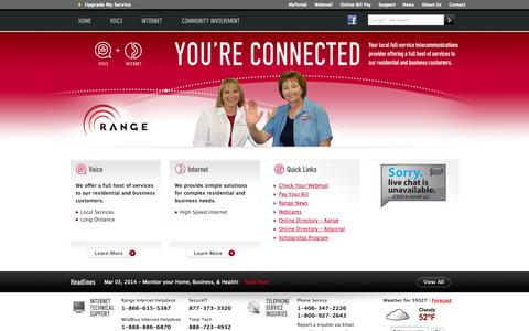 Screenshot of Home Page rangeweb.net - Range - You're Connected - captured Oct. 7, 2014