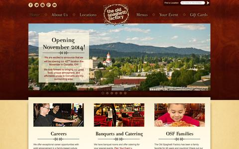 Screenshot of Home Page osf.com - The Old Spaghetti Factory - captured Sept. 25, 2014