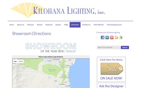 Screenshot of Maps & Directions Page kilohanalighting.com - Kilohana Lighting showroom directions - captured Aug. 9, 2016