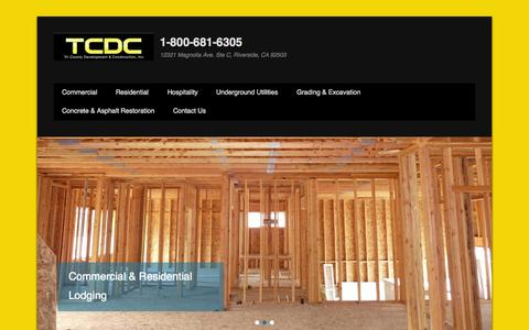 Screenshot of Home Page Menu Page tcdci.com - 1-800-681-6305 | 12321 Magnolia Ave. Ste C, Riverside, CA 92503 - captured Oct. 7, 2014