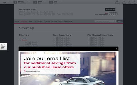 Screenshot of Site Map Page mckennaaudi.com - Sitemap McKenna Audi | Vehicles for sale in Norwalk, CA 90650 - captured Sept. 23, 2014