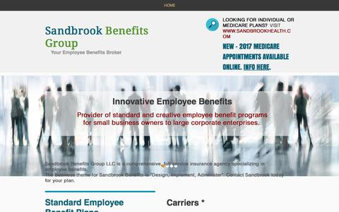 Screenshot of Home Page sandbrookbenefits.com - sandbrook-benefits - captured Nov. 18, 2016
