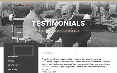 Screenshot of Testimonials Page huntleyfirst.com - Huntley rsquo s staff and elected officials took the time to understand our organization, responded quickly to our needs, and made sure that our approval process was efficient and seamless - captured Sept. 20, 2017