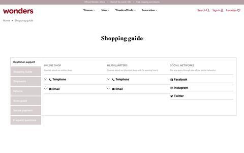 Screenshot of Contact Page FAQ Page wonders.com - Shopping guide - captured Feb. 14, 2019