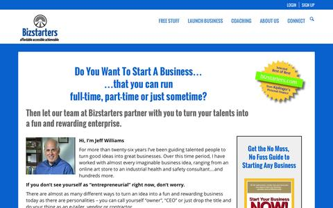 Screenshot of Home Page bizstarters.com - How to start a business, write a business plan and start-up services - captured Oct. 5, 2014