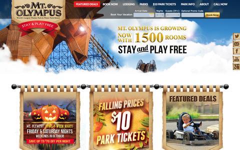 Screenshot of Home Page mtolympuspark.com - Wisconsin Dells - Mt. Olympus Resorts - captured Sept. 25, 2014