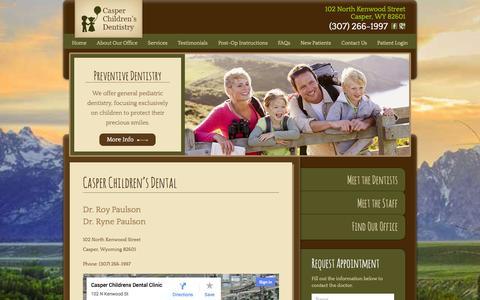 Screenshot of Contact Page casperchildrensdental.com - Contact Casper Children's Dental | 102 North Kenwood Street Casper, WY 82601 | (307) 266-1997 - captured Oct. 2, 2014
