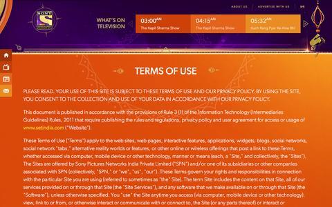 Screenshot of Terms Page setindia.com - SET India - captured Dec. 3, 2016
