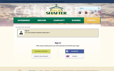 Screenshot of Login Page shafter.com - Shafter CA - Official Website - captured Sept. 28, 2018