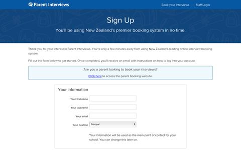 Screenshot of Signup Page parentinterviews.co.nz - Sign Up - Parent Interviews - The smart way to manage parent teacher interviews for your school - captured Nov. 1, 2014
