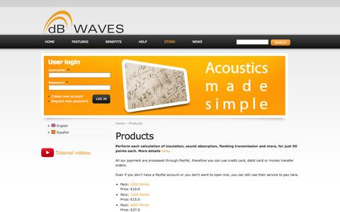 Screenshot of Products Page dbwaves.com - Products | dBWaves - captured Sept. 30, 2014