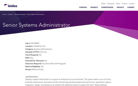 Screenshot of Jobs Page leidos.com - Senior Systems Administrator in CHANTILLY, VA - Leidos - captured Jan. 29, 2019