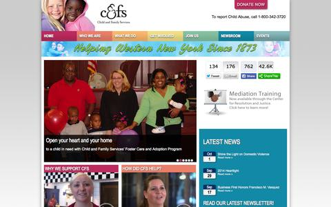 Screenshot of Home Page cfsbny.org - Child & Family Services - captured Oct. 2, 2014