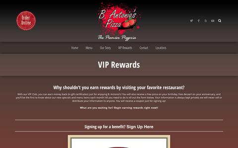 Screenshot of Signup Page bantonios.com - VIP Rewards ‹ B. Antonio's Pizza - captured Oct. 2, 2014