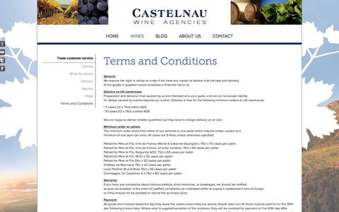 Screenshot of Terms Page castelnau.co.uk - Castelnau Wine Agencies | Terms and Conditions - captured Oct. 26, 2016