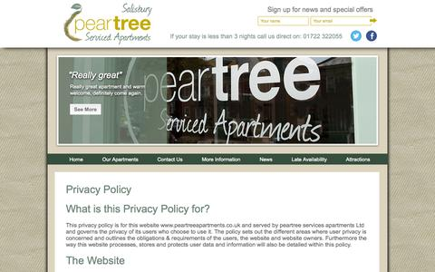 Screenshot of Privacy Page peartreeapartments.co.uk - Sitemap - captured Oct. 2, 2014