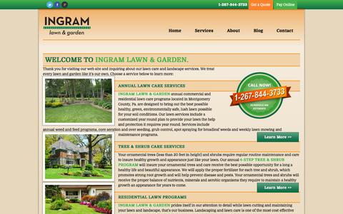Screenshot of Services Page ingramlawncare.com - lawn  mowing, lawn cutting, lawn aeration, mulch, lawn care | Ingram Lawn & Garden Service - captured Oct. 6, 2014