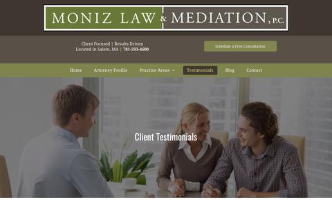 Screenshot of Testimonials Page monizlaw.com - Moniz Law and Mediation, PC Testimonials | Salem, MA - captured Oct. 19, 2018