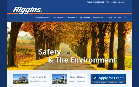 Screenshot of Home Page rigginsoil.com - Riggins - Find low gas prices in NJ and PA - & Heating Oil - captured Feb. 15, 2016