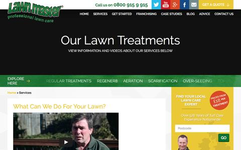 Screenshot of Services Page lawnmaster.co.uk - Lawn Treatment Services – Lawn Master - captured July 12, 2016