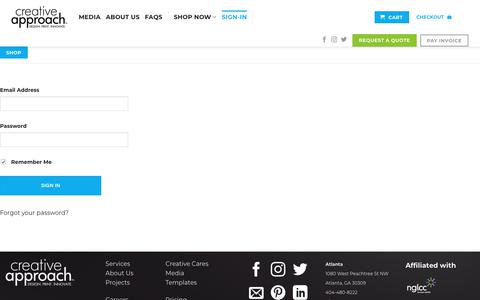 Screenshot of Login Page mycreativeapproach.com - Sign-In | Creative Approach Print & Design - captured Nov. 1, 2019