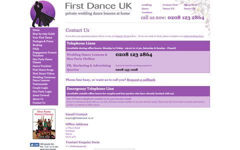 Screenshot of Contact Page firstdanceuk.co.uk - Contact First Dance UK - captured Nov. 6, 2018