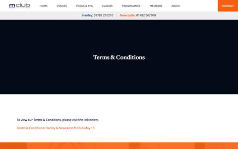 Screenshot of Terms Page mclubspaandfitness.co.uk - Terms & Conditions - M Club Spa and Fitness - captured July 25, 2018
