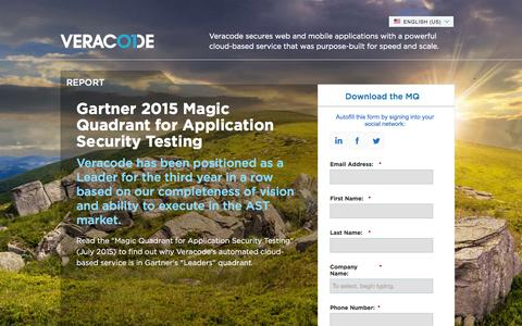 Screenshot of Landing Page veracode.com - Gartner 2015 Magic Quadrant | Veracode - captured March 16, 2016