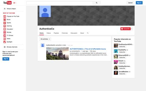 Screenshot of YouTube Page youtube.com - AuthenticeCo  - YouTube - captured Oct. 23, 2014