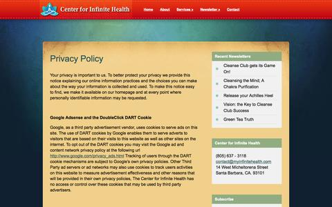 Screenshot of Privacy Page myinfinitehealth.com - Privacy Policy | Center for Infinite Health - captured Oct. 2, 2014