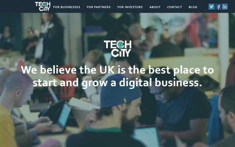 Screenshot of Home Page techcityuk.com - Tech City UK | We deliver programmes focused on accelerating the growth of digital businesses across the UK - captured Aug. 10, 2015