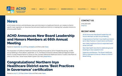 Screenshot of Press Page achd.org - News - ACHD - captured Oct. 4, 2018