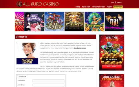 Screenshot of Contact Page Support Page alleurocasino.com - Euro Casino - 24/7 Support at Casino Euro! - captured Aug. 29, 2017