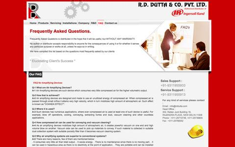 Screenshot of FAQ Page rddutta.com - Authorised distributor of Ingersoll-Rand,specialise in the fields of Compressed Air, Industrial & Offshore Lifting, Power Tools and Product Finishing Systems - captured Oct. 7, 2014