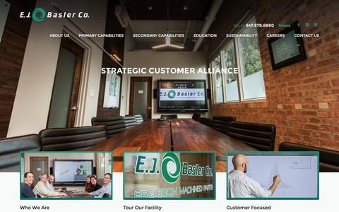 Screenshot of Home Page ejbasler.com - Precision Machine Shop   EJ Basler Precision Machining - captured Dec. 6, 2015