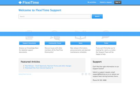 Screenshot of Support Page flexitime.co.nz - Welcome to FlexiTime Support Centre - captured Sept. 19, 2014