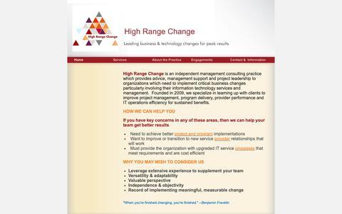 Screenshot of Home Page highrangechange.com - High Range Change - Home - captured Nov. 5, 2018