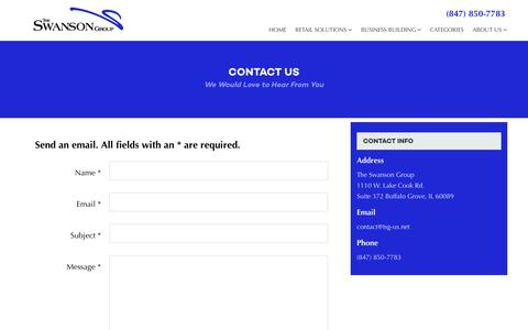 Screenshot of Contact Page theswansongroup.com - Contact Us | The Swanson Group - captured Oct. 20, 2018