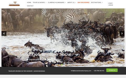 Screenshot of Home Page tanzaniatravelcompany.com - Tanzania Travel Company | TTC - captured July 28, 2019