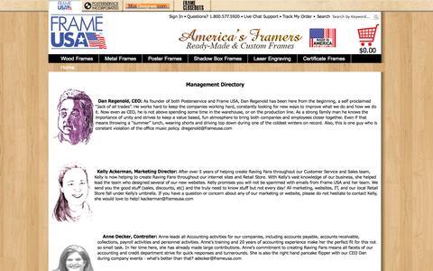 Screenshot of Team Page frameusa.com - Frame USA - Management Directory - captured Sept. 23, 2014