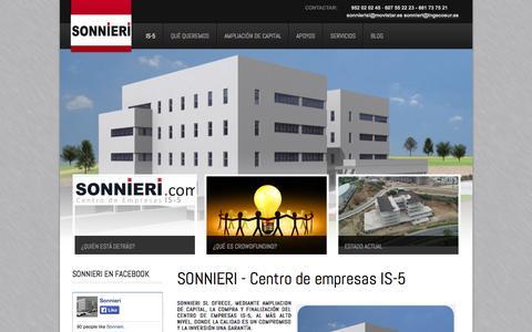 Screenshot of Home Page sonnieri.com - SONNIERI - Centro de empresas IS-5 - captured Oct. 3, 2014