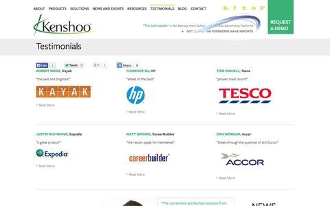 Screenshot of Testimonials Page kenshoo.com - Kenshoo Client Testimonials | Why do [I] Kenshoo? - captured Oct. 28, 2014
