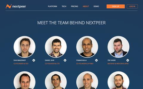 Screenshot of About Page nextpeer.com - About us | Nextpeer - captured Feb. 11, 2016