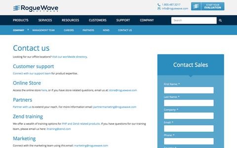 Screenshot of Contact Page roguewave.com - Contact us   Rogue Wave Software - captured March 11, 2018