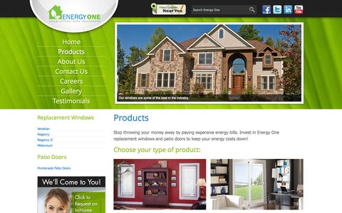 Screenshot of Products Page energyonewindows.com - Products - Energy One - captured Sept. 30, 2014