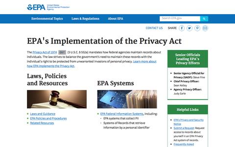 Screenshot of Privacy Page epa.gov - EPA's Implementation of the Privacy Act | US EPA - captured June 20, 2017