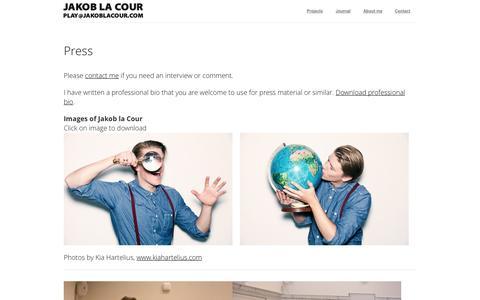 Screenshot of Press Page jakoblacour.com - Press | Jakob la Cour - captured Nov. 5, 2014