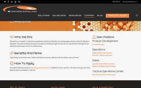 Screenshot of Jobs Page eyewitnesssurveillance.com - Careers - Eyewitness Surveillance - captured July 4, 2016