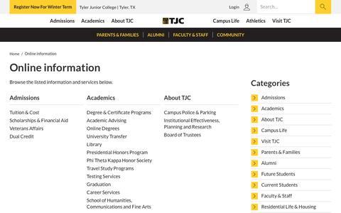 Screenshot of Site Map Page tjc.edu - Online information   Tyler Junior College - captured Nov. 30, 2016